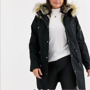 ASOS Curve parka w/detachable faux fur liner